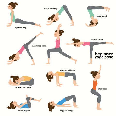 Colección yoga mujer pose ejercicios, ilustración vectorial plana