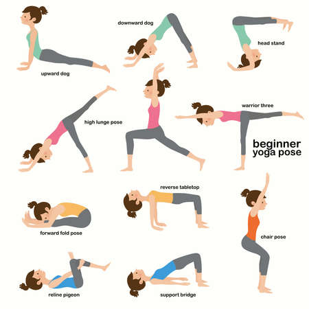 Collection yoga woman pose exercises, flat vector illustration