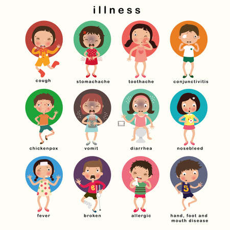 Childhood illnesses  set, vector illustration Illustration