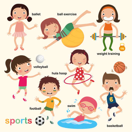 sport for kids collection, vector, illustration