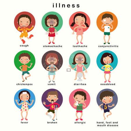 Childhood illnesses set, vector illustration