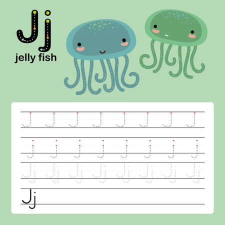 Alphabet tracing worksheet for preschool and kindergarten to improve basic writing skills, letter J, jellyfish, vector, illustration Vector Illustration