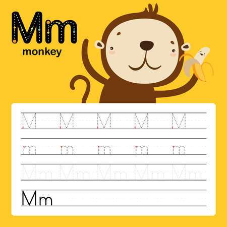 Alphabet tracing worksheet for preschool and kindergarten to improve basic writing skills, letter M, monkey, vector, illustration