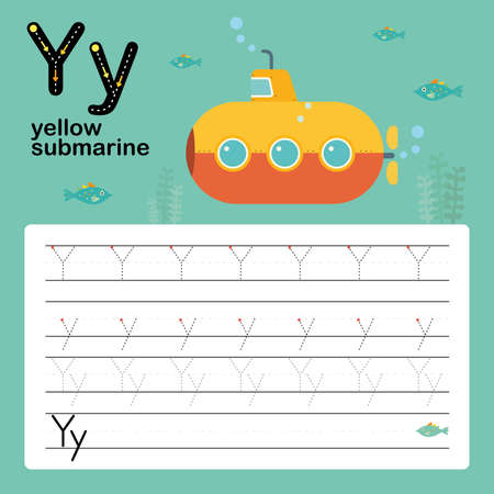 Alphabet tracing worksheet for preschool and kindergarten to improve basic writing skills, letter Y, yellow submarine, vector, illustration