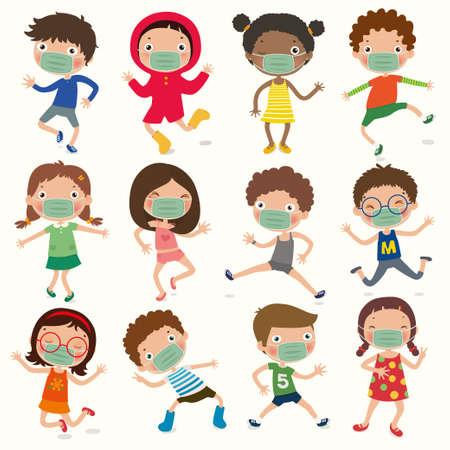 Eine Vielzahl von Kindergesten, Kinder tragen eine Maske, um Covid-19 zu verhindern, soziale Distanz, Vektor, Illustration Vektorgrafik