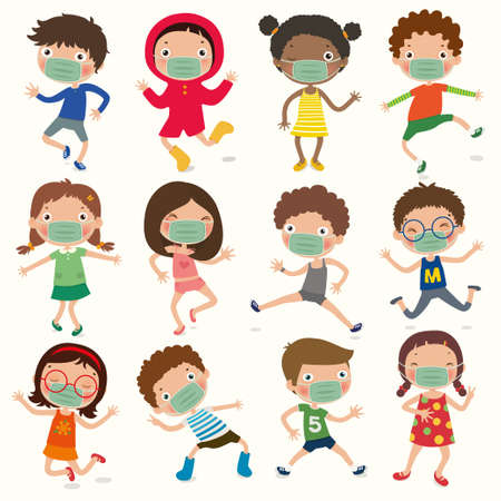 Variety of children gesture, kids wear a Mask to Prevent covid-19, social distance, vector, illustration