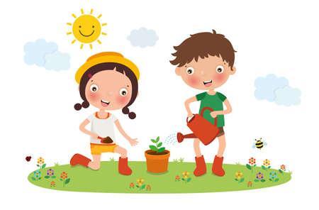 Kids Planting Tree, vector, illustration