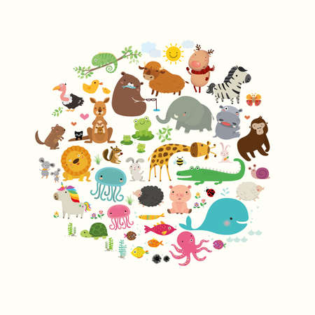 Set of Cute Cartoon Animals, Flat Vector, Illustration