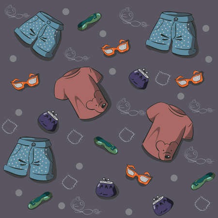 Pattern with women s summer clothing, and accessories Vector