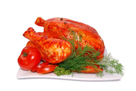 Fresh chicken marinated, on a white background photo