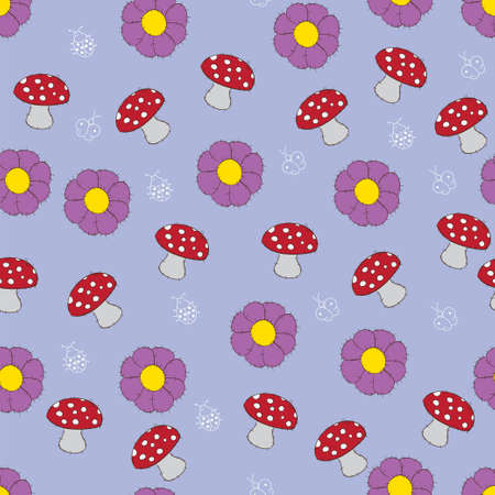 Seamless pattern with mushroom and flowers Vector