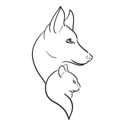 cat s: Dog s and Cat s Silhouettes, vector sketch  Illustration