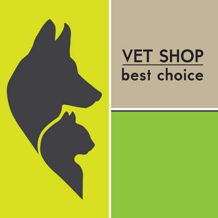 veterinarian symbol: Dog and Cat Silhouettes  Veterinary shop poster