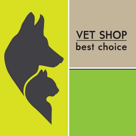 Hund und Katze Silhouetten Veterinary Shop Poster Standard-Bild - 21930503