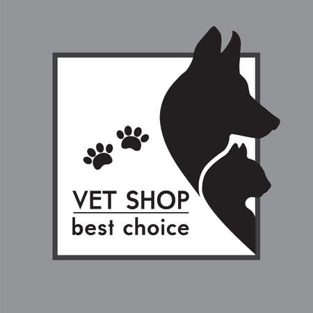 cat dog: Dog and Cat Silhouettes  Veterinary shop poster