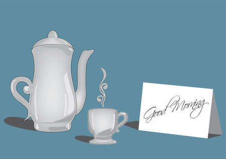 greating card: Coffee or tea set and greating card
