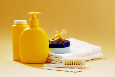 talcum: Baby soap, talcum powder, brushes and other bathroom items