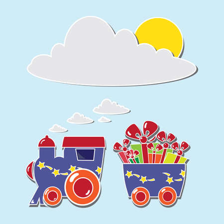 blue locomotive with gift boxes on holiday cards Vector