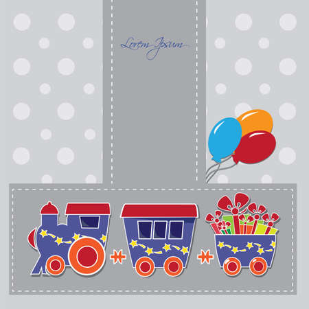 hollidays: locomotive with gift boxes on holiday cards