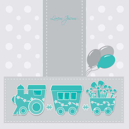 locomotive with gift boxes on holiday cards Vector