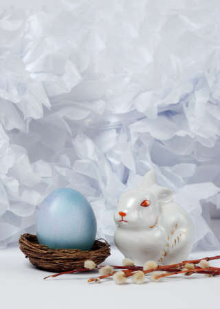 Vintage still life with  egg and easter bunny