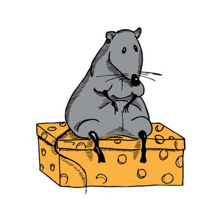 rata: Lindo rata de la historieta de grasa en un pedazo de queso. Vectores