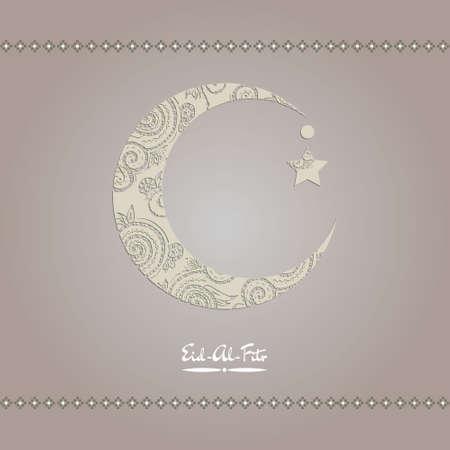 新月装饰与zentangle穆斯林社区节日开斋节穆巴拉克。