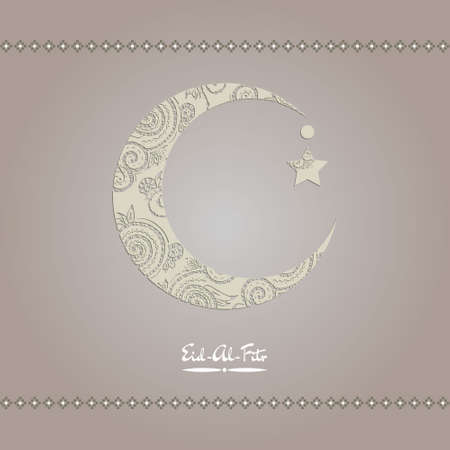 fitr: Crescent moon decorated with zentangle for muslim community festival  Eid Al Fitr Mubarak.