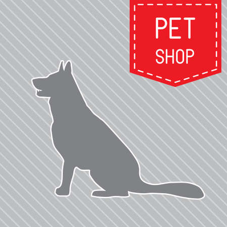 silhouette of dog on the poster for veterinary shop or clinic Vector