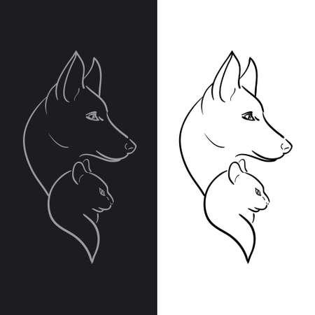 Hand Drawn Dog and Cat Sketched Vector Illustration Иллюстрация