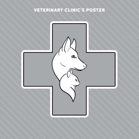 black professional: Hand drawn cat and dog on the poster for veterinary shop or clinic Illustration