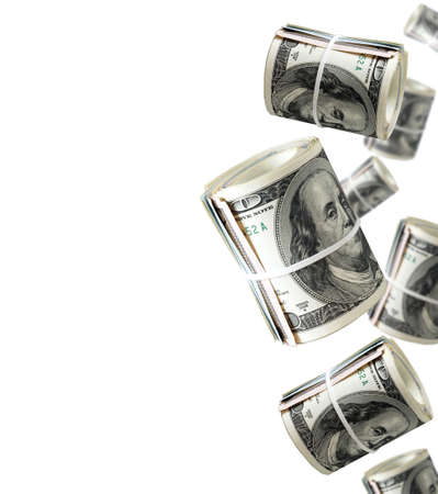 Rolls Of One Hundred Dollar Bills. Abstract money background Stock Photo