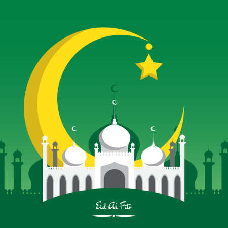 crescent moon: Crescent moon with white mosque for muslim community festival  Eid Al Fitr Mubarak.