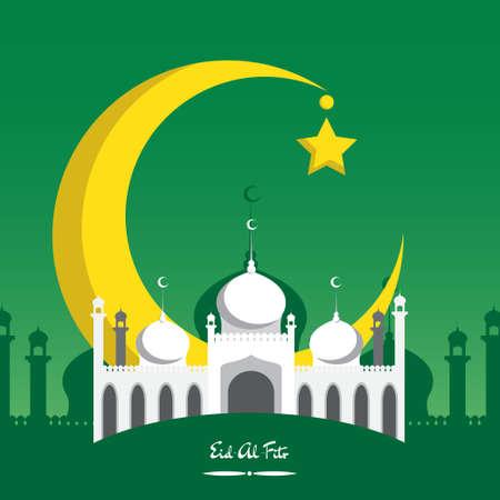 croissant de lune: croissant de lune avec mosqu�e blanche pour le festival de la communaut� musulmane de l'A�d Al Fitr Moubarak.