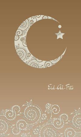 croissant de lune: Croissant de lune d�cor� avec zentangle pour le festival de la communaut� musulmane de l'A�d Al Fitr Moubarak.
