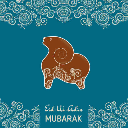 Greeting card template for Muslim Community Festival Eid-Al-Fitr Mubarak. with flat sheep Иллюстрация