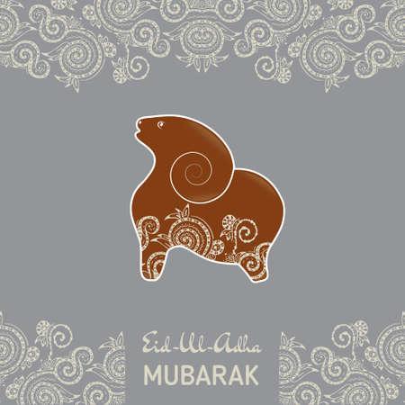 pecora: Modello di biglietto per il festival della Comunità musulmana di Eid-Al-Fitr Mubarak. con le pecore piatta