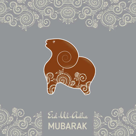 Greeting card template for Muslim Community Festival Eid-Al-Fitr Mubarak. with flat sheep Illustration