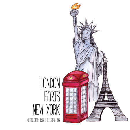 telephone box: London red telephone box, Statue of Liberty and the Eiffel Tower. Watercolor vector illustration