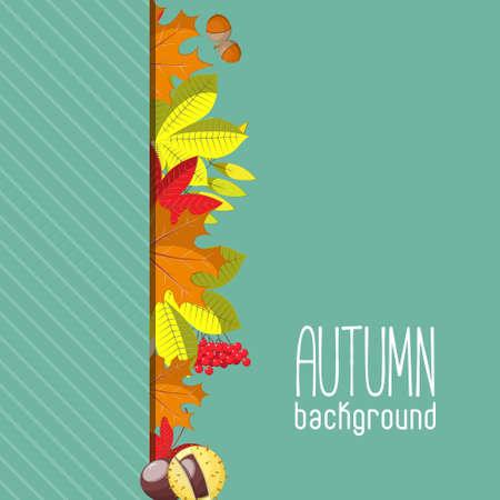 hintergrund herbst: Herbsthintergrund f�r Einladung oder Ad-Vorlage mit Kranz aus Bl�ttern, Samen und N�sse.