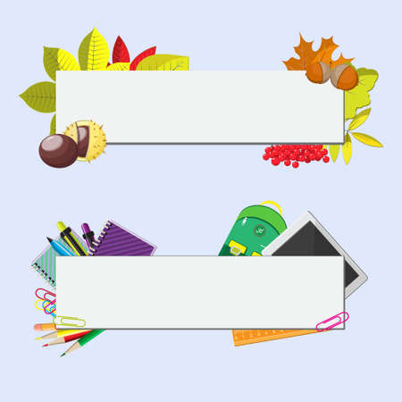 school supplies: set of two banners with seasonal background, school supplies and autumn leaves
