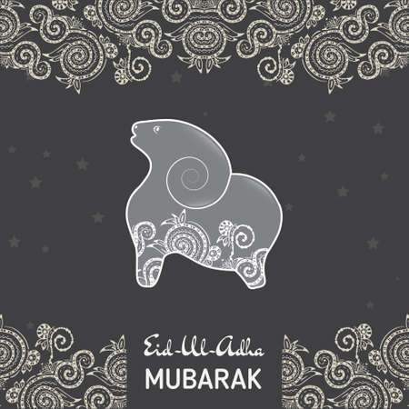 sheep: Greeting card template for Muslim Community Festival  of sacrifice Eid-Ul-Adha with flat sheep
