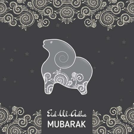 ovejas: Tarjetas de plantilla de tarjeta para musulmanes Festival Comunidad de sacrificio de Eid-Ul-Adha con ovejas plana Vectores