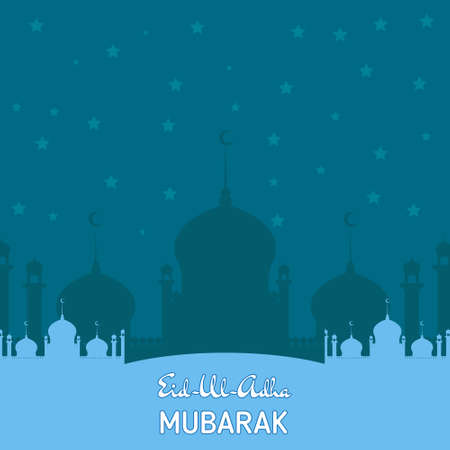 religious backgrounds: Flat Illustration of Eid ka Chand Mubarak with mosque silhouette on background