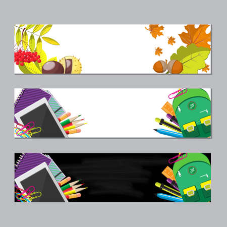 computer banner: set of two banners with seasonal background, school supplies and autumn leaves