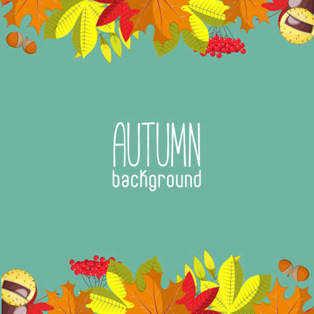 leaves green: Autumn background for invitation or ad template with wreath from leaves, seeds and nuts Illustration