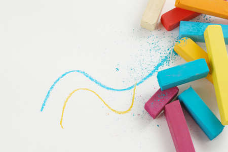 chalks: Group of bright color chalks isolated on white background Stock Photo