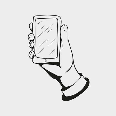 smart phone hand: black and white icon, hand drawn hand holding the smart mobile phone isolated on a white background Illustration