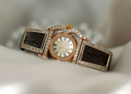 Beautiful old vintage gold watches with sparkling gem stones