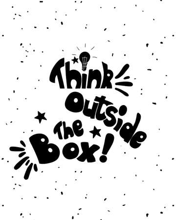 outside the box: Think outside the box calligraphy. black and white inspirational motivational poster  Trendy Vector illustration Illustration